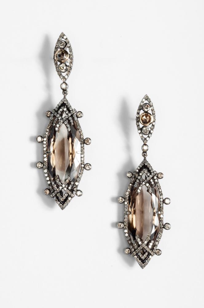 Smoky Topaz Diamond Earrings